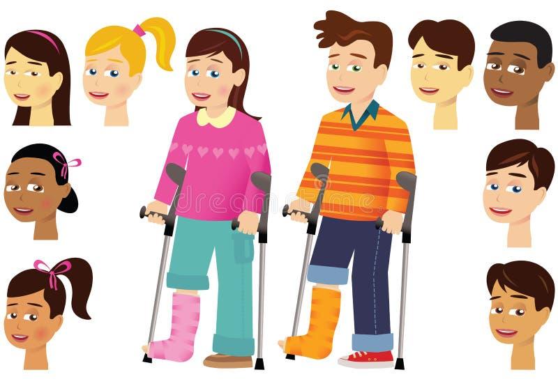 Дети с гипсовыми повязками ноги иллюстрация штока