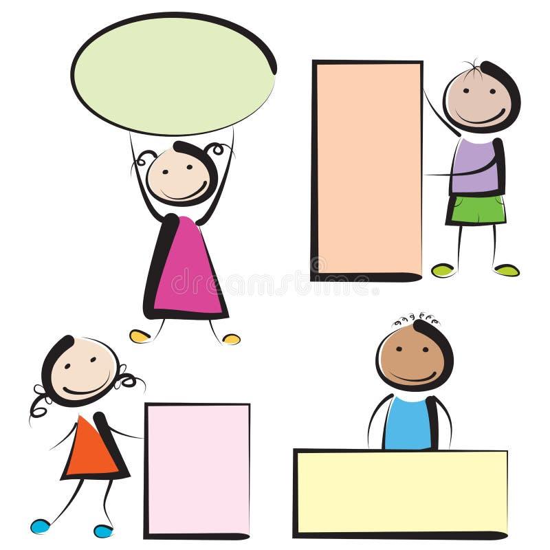 Дети с знаменами бесплатная иллюстрация