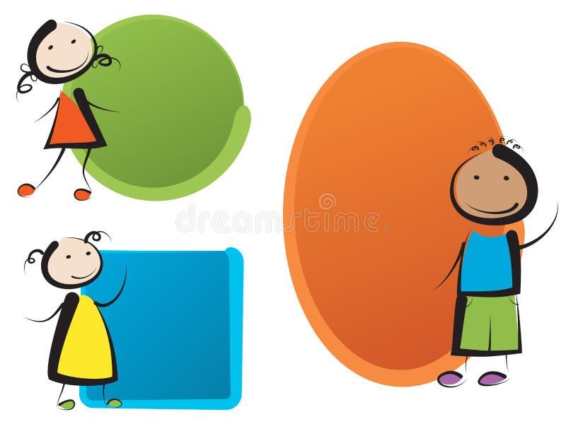 Дети с знаменами иллюстрация штока