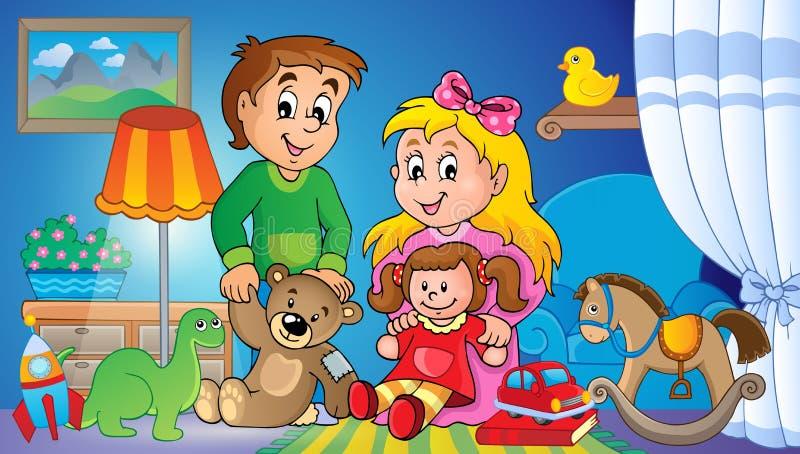 Дети с изображением 2 темы игрушек иллюстрация вектора