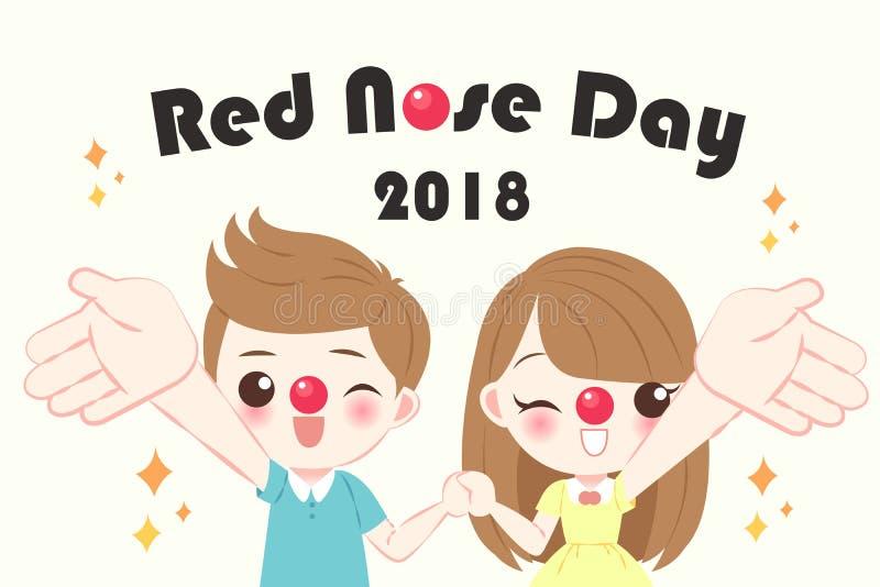 Дети с красным днем носа иллюстрация вектора