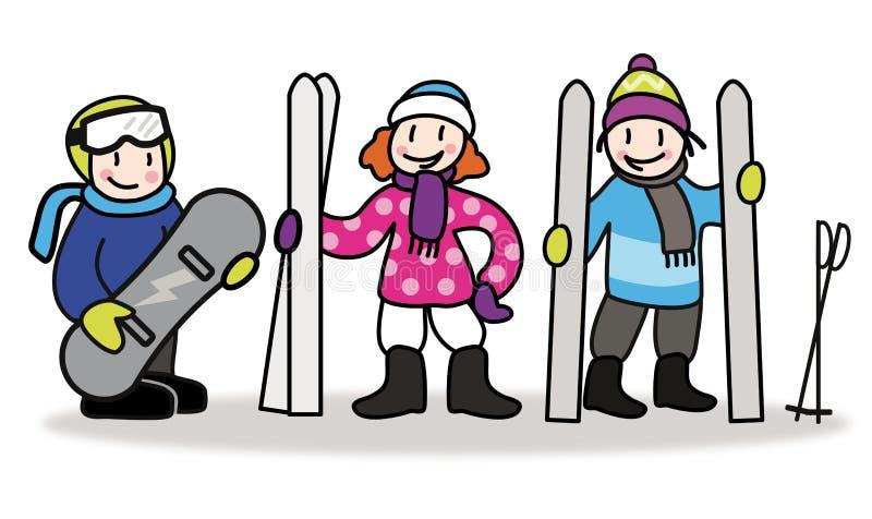 Дети с лыжником и сноубордом Illus катания на лыжах и сноубординга иллюстрация вектора