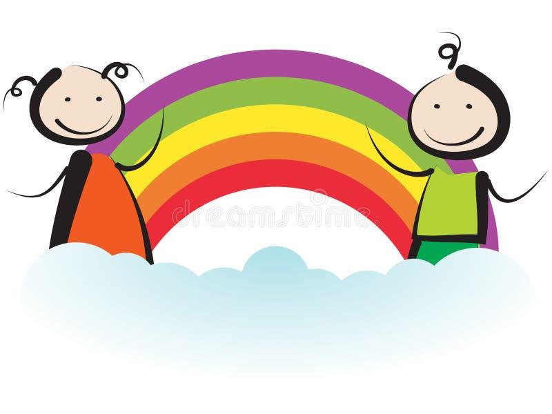 Дети с радугой иллюстрация вектора