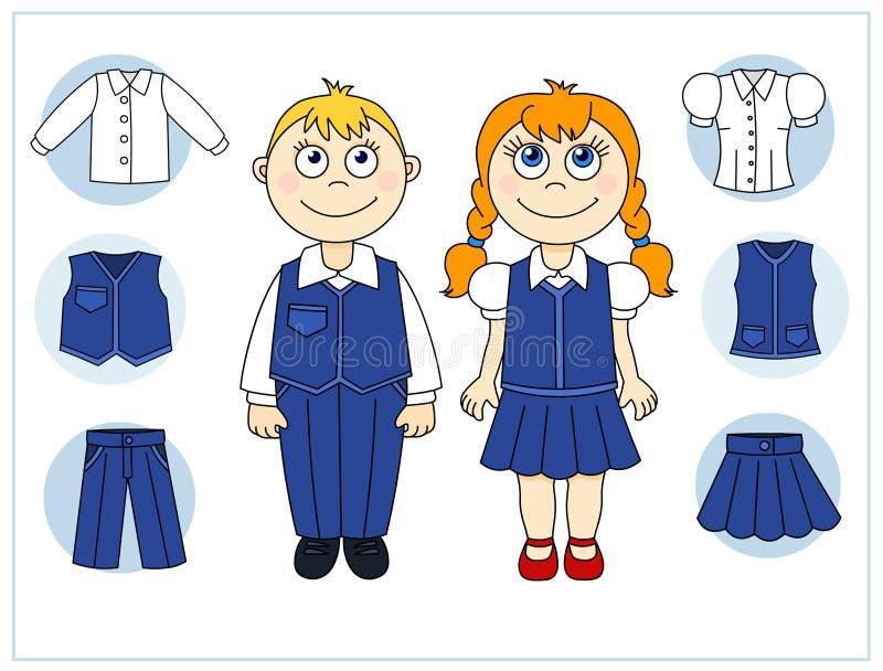 Download Дети с элементами одежд иллюстрация вектора. иллюстрации насчитывающей девушка - 33735244