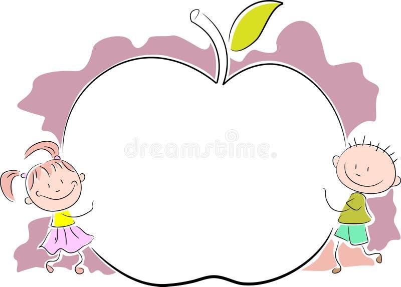 Дети с яблоком иллюстрация вектора
