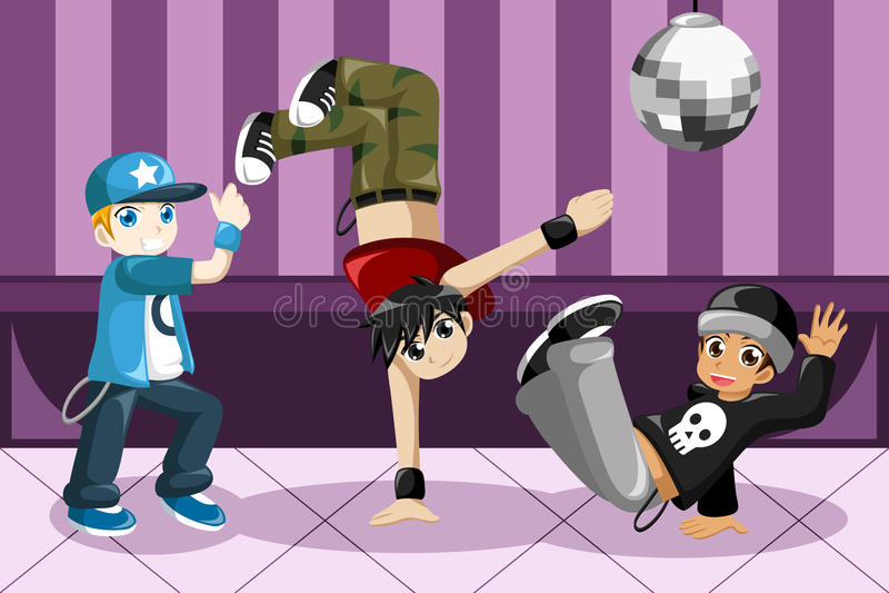 Дети танцуя тазобедренный хмель бесплатная иллюстрация