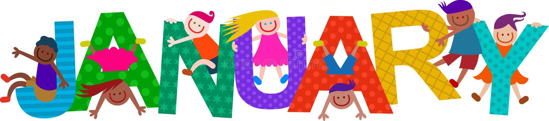 Дети текста в январе шаржа иллюстрация штока