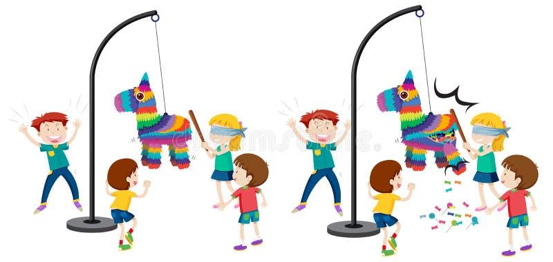 Дети ударяя игру pinata иллюстрация штока