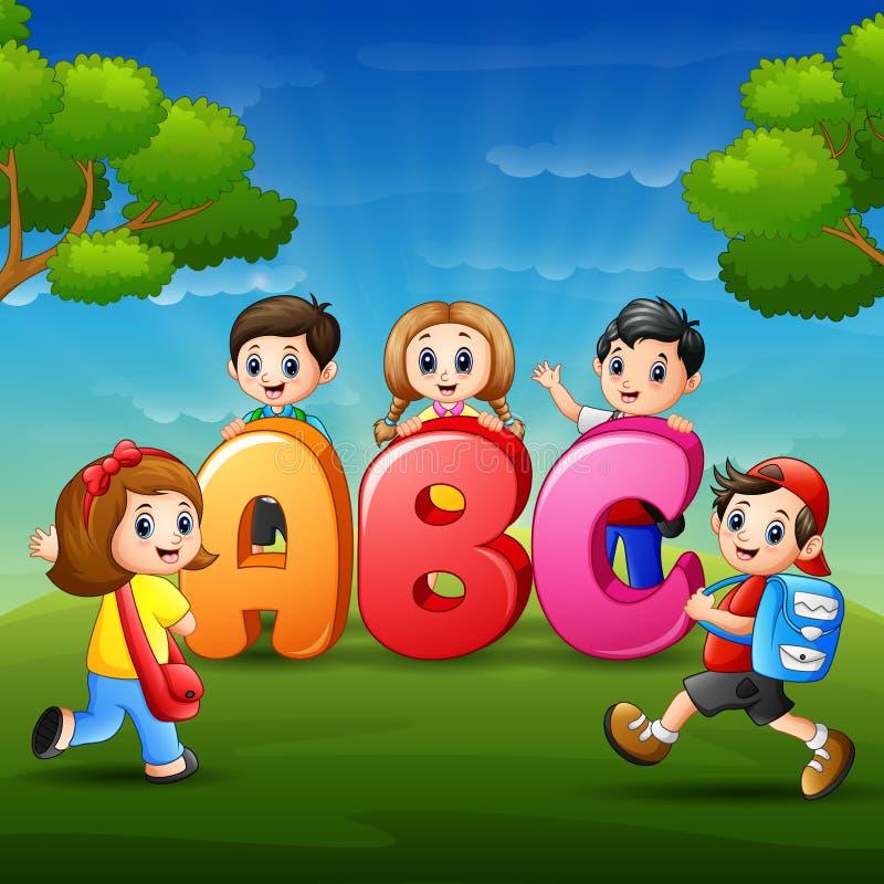 Дети учат alfabet бесплатная иллюстрация