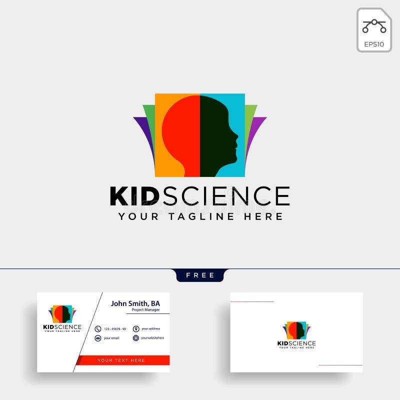 дети уча, элемент значка иллюстрации вектора шаблона логотипа науки творческий изолировали стоковые фото