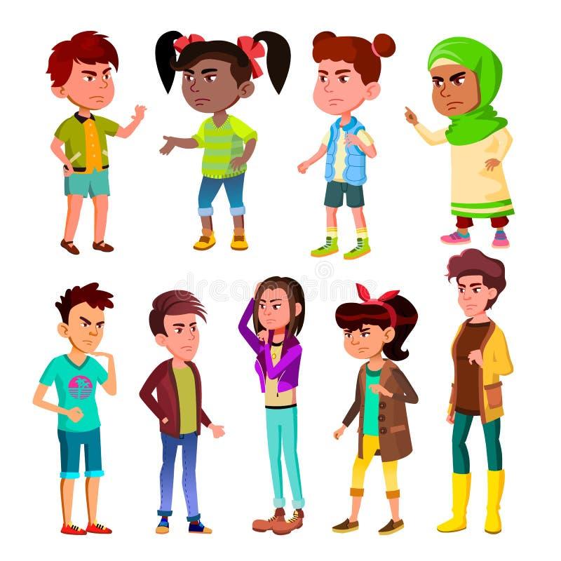 Дети характера и вектор обдува подростка установленный бесплатная иллюстрация