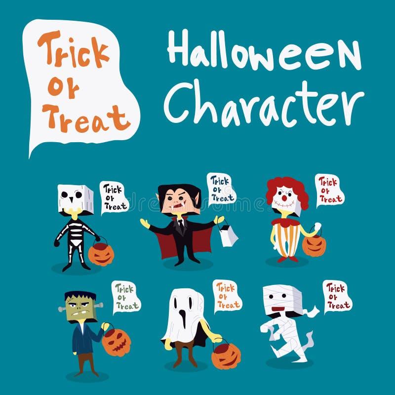 Дети хеллоуина костюмируют характер с воздушным шаром, фокусом или обслуживанием текста иллюстрация штока