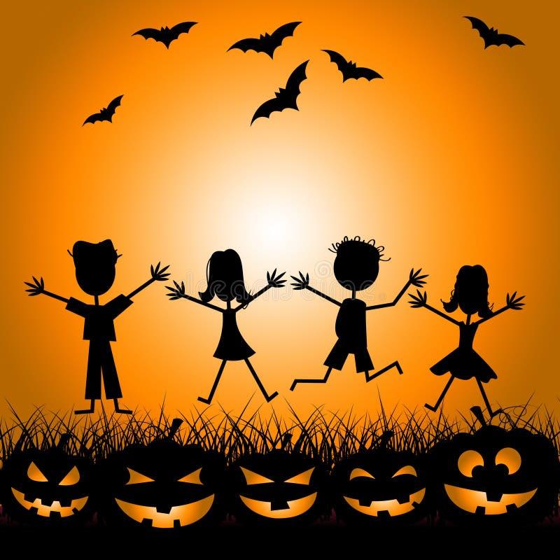 Дети хеллоуина показывают фокус или обслуживание и детей бесплатная иллюстрация