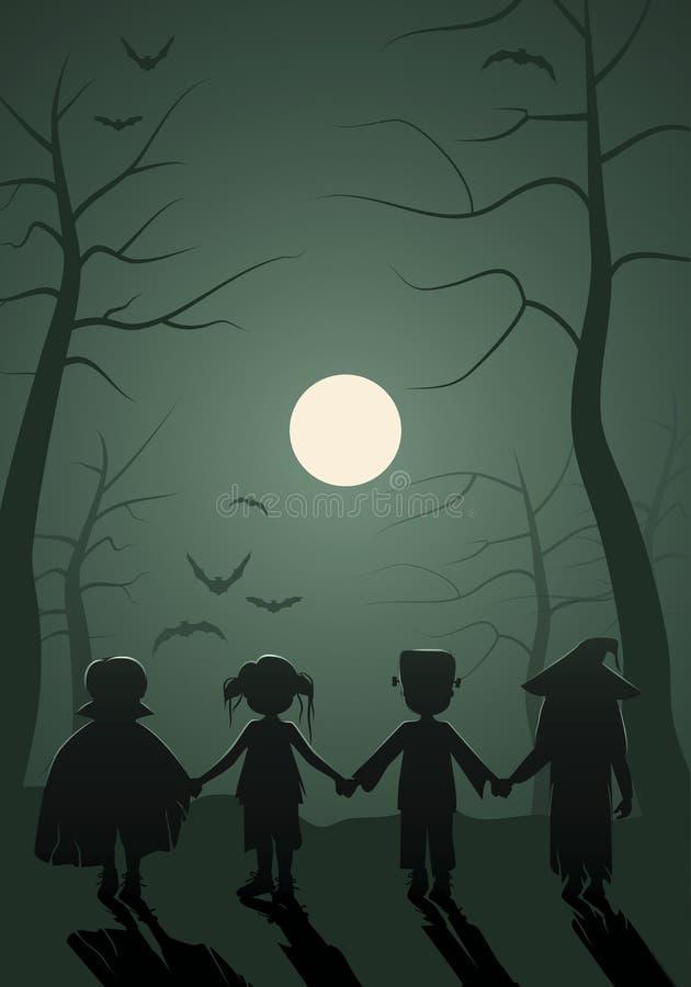 Дети хеллоуин Дети извергов на лесе иллюстрация штока