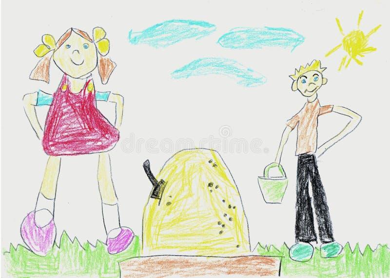 Дети чертежа ребенка в ящике с песком бесплатная иллюстрация