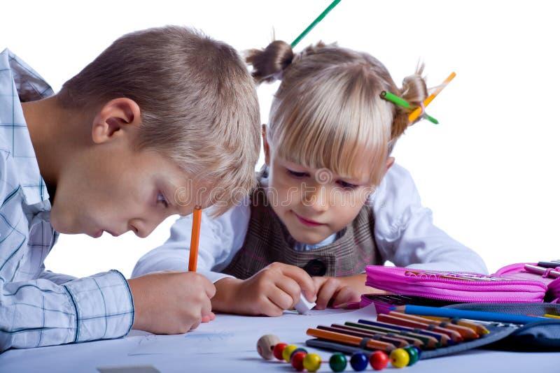 Дети чертежа стоковое фото