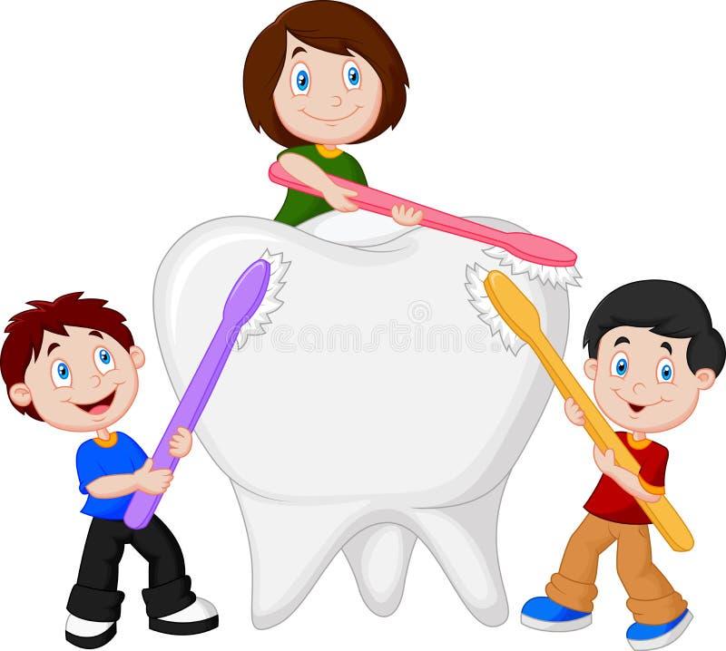 Дети чистя белый зуб щеткой иллюстрация штока