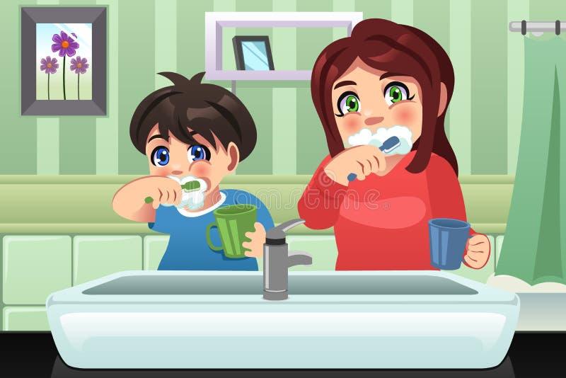 Дети чистя их зубы щеткой иллюстрация вектора