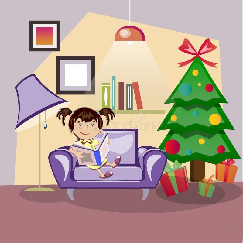 Дети читая книгу около рождественской елки бесплатная иллюстрация