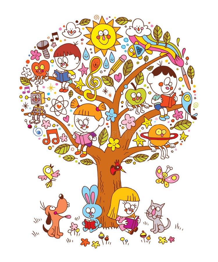 Дети читая на дереве иллюстрация вектора