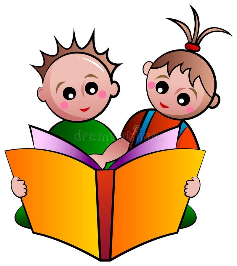 Дети чтения иллюстрация вектора