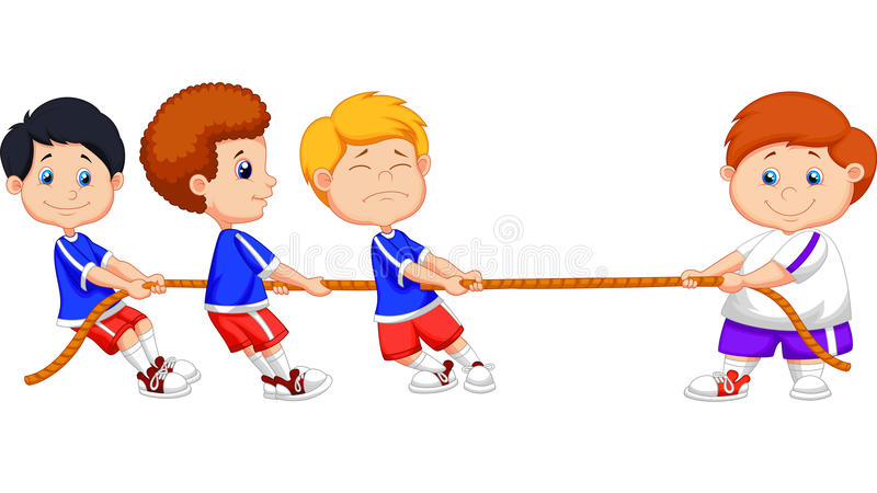 Дети шаржа играя перетягивание каната иллюстрация штока