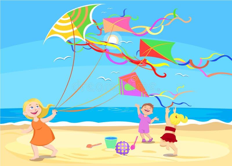 Дети шаржа играя с змеями на пляже иллюстрация вектора