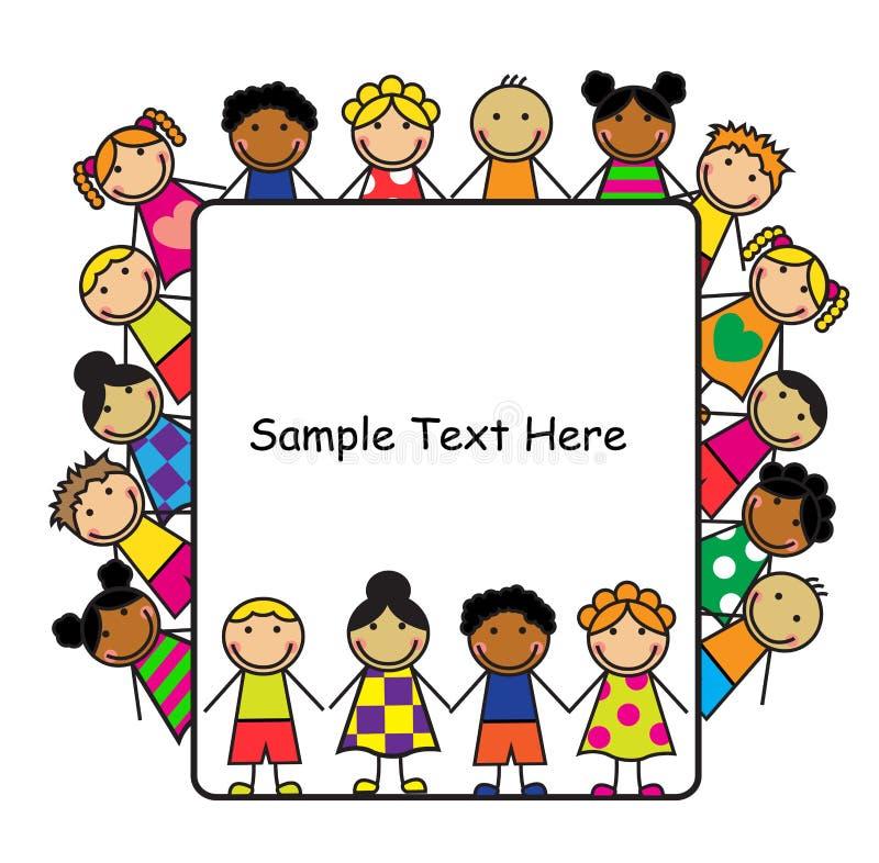 Дети шаржа и белый плакат бесплатная иллюстрация