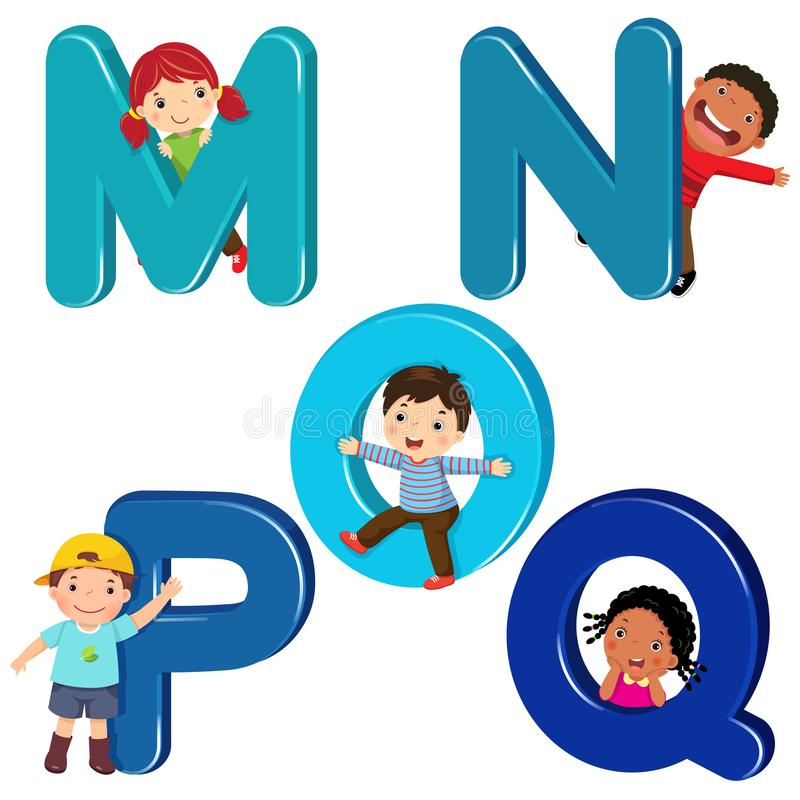 Дети шаржа с письмами MNOPQ иллюстрация вектора