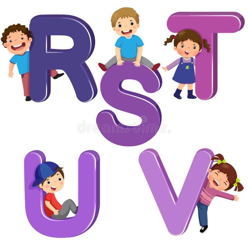 Дети шаржа с письмами RSTUV иллюстрация штока