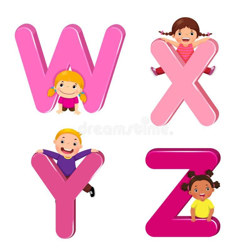 Дети шаржа с письмами WXYZ иллюстрация вектора