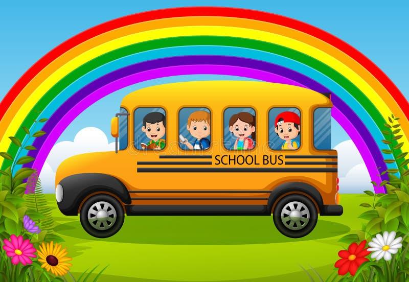 дети школьного автобуса бесплатная иллюстрация
