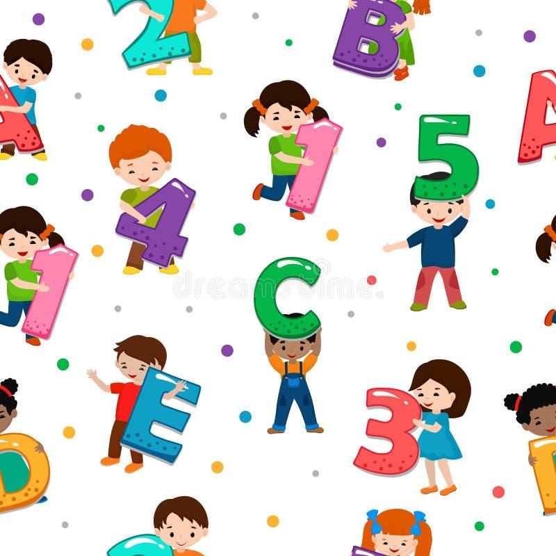 Дети шрифт вектора алфавита детей и характер мальчика или девушки держа иллюстрацию алфавитного письма или номера иллюстрация вектора