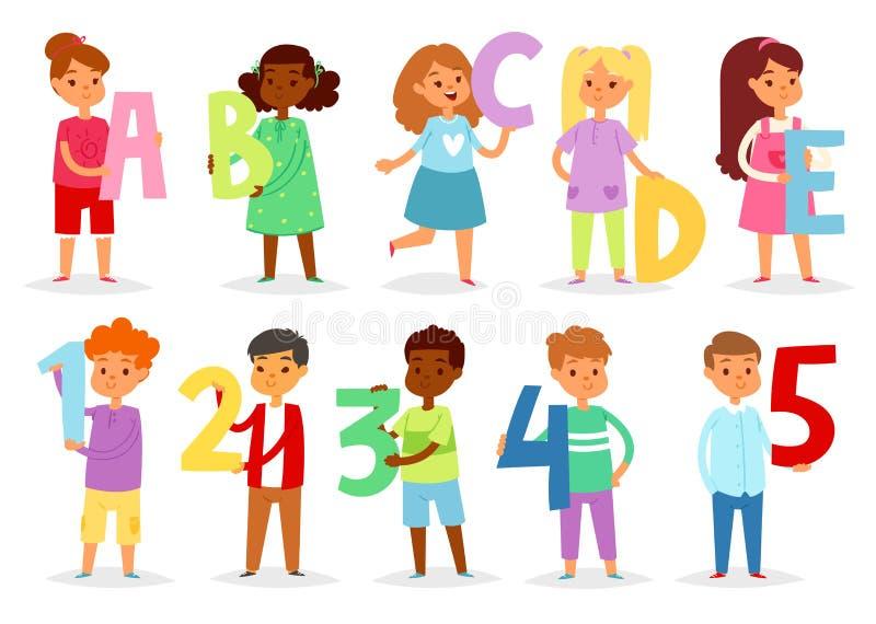 Дети шрифт шаржа вектора алфавита детей и характер мальчика или девушки держа иллюстрацию алфавитного письма или номера бесплатная иллюстрация