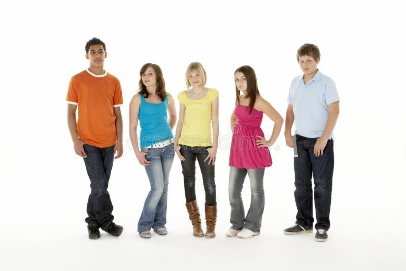 дети 5 детенышей студии группы стоковое изображение rf
