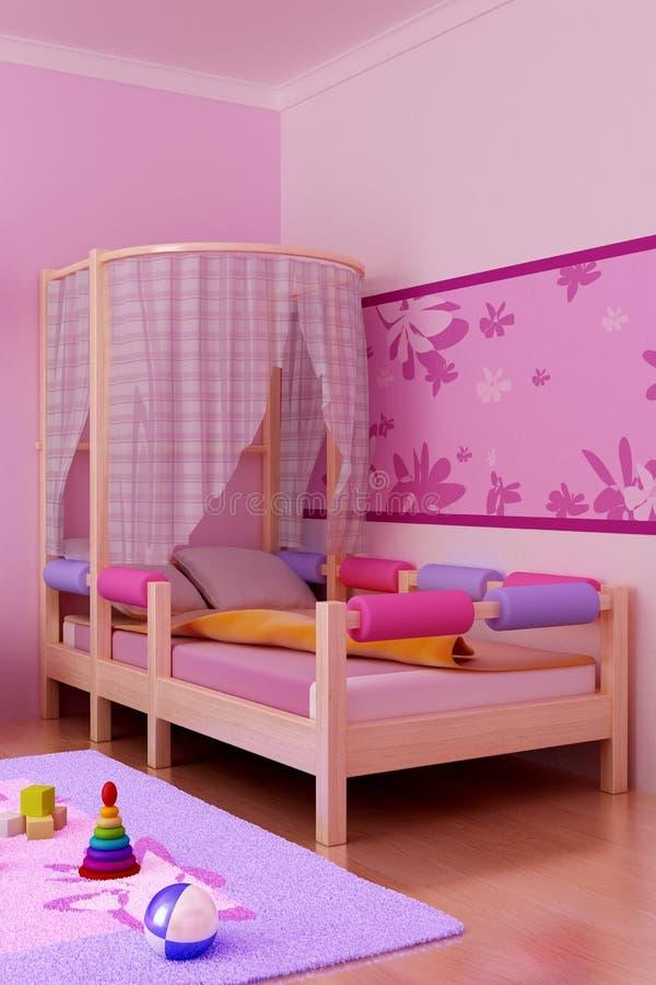 дети s кровати иллюстрация вектора