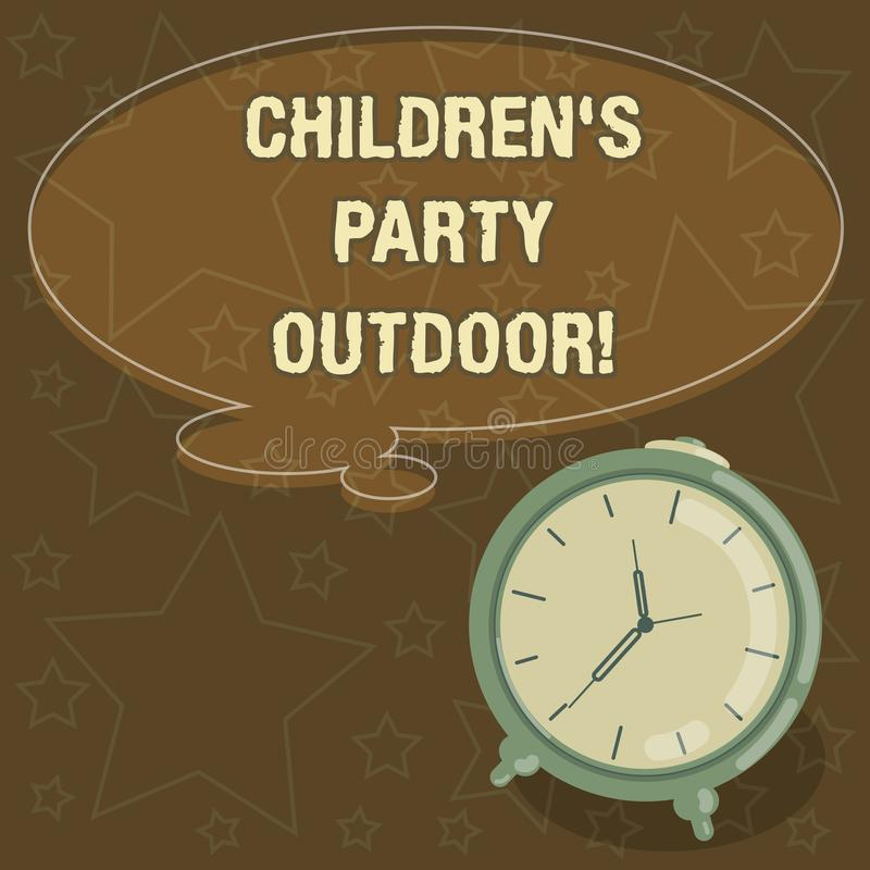 Дети s сочинительства текста почерка партия на открытом воздухе Концепция знача праздненство детей, который держат вне цвета проб бесплатная иллюстрация