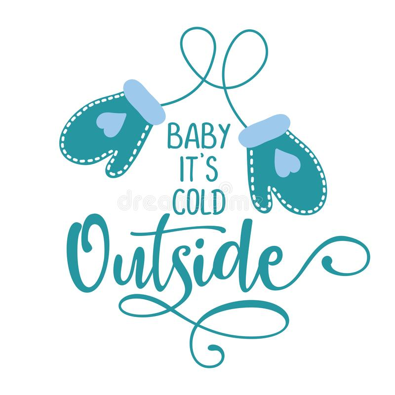 Детка, на улице холодно - зимнее романтическое раскладывание с перчатками бесплатная иллюстрация