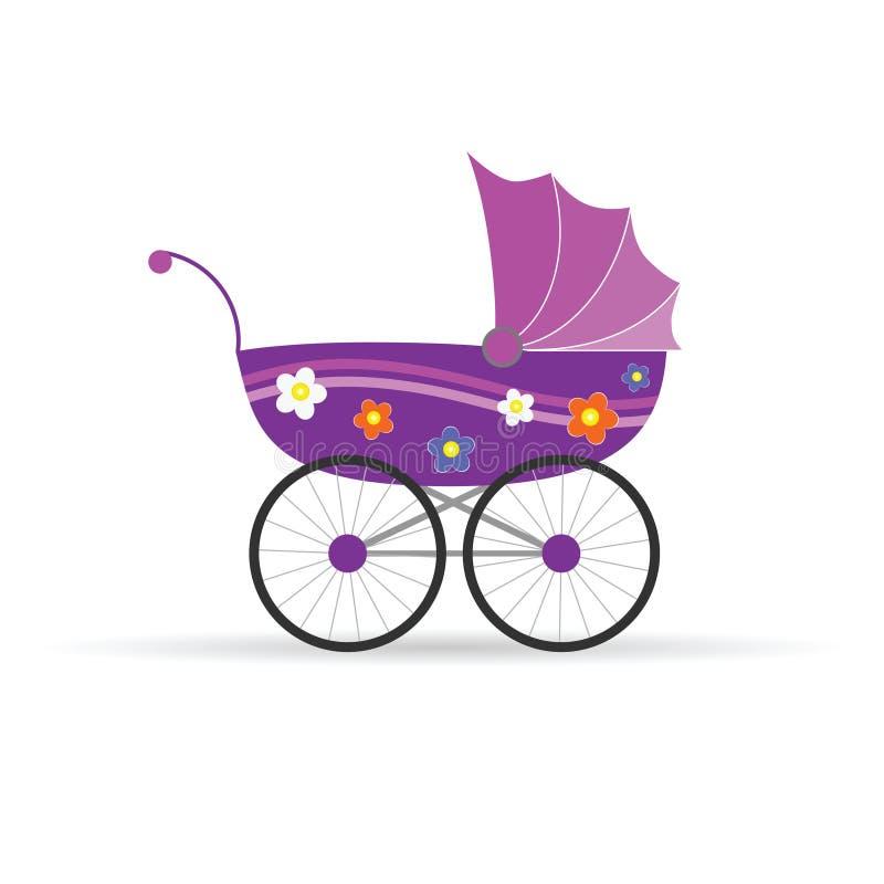 Детская дорожная коляска в пинке для иллюстрации вектора девушки иллюстрация вектора