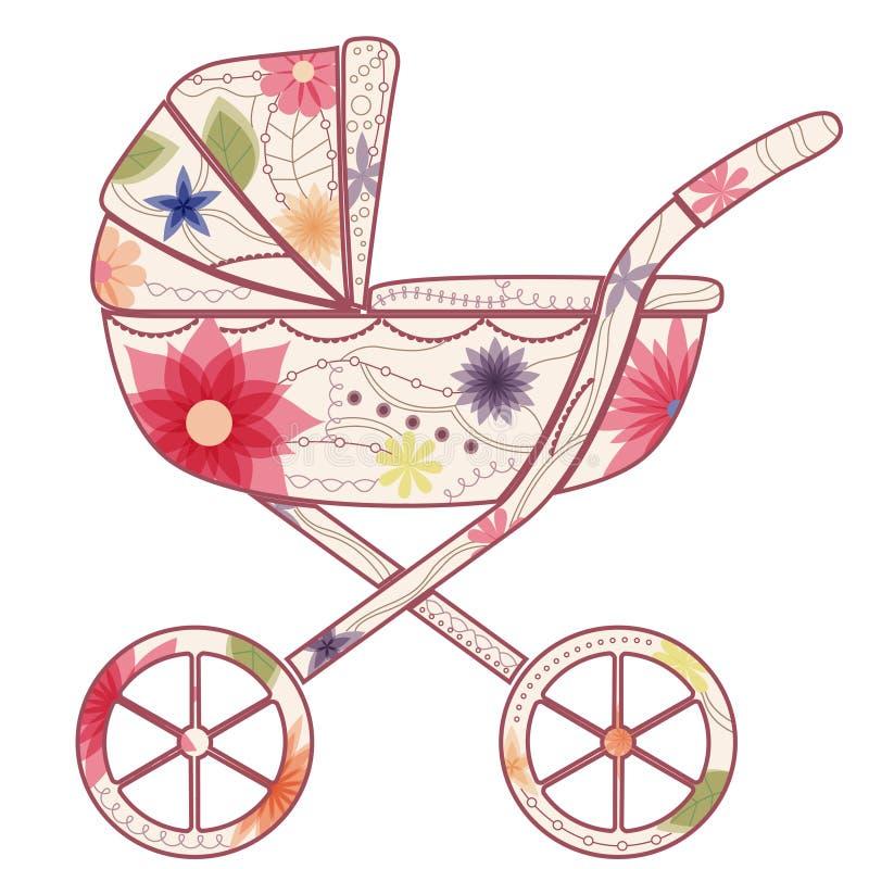 Детская дорожная коляска для девушки иллюстрация вектора