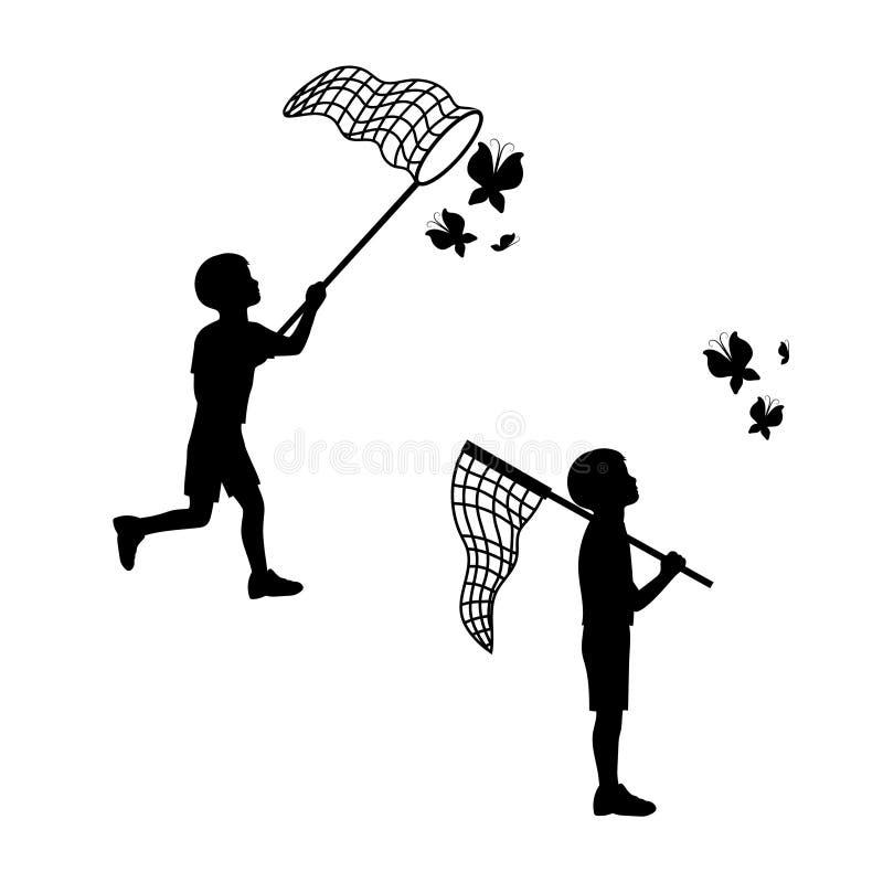 Детские игры с сетью бабочки иллюстрация штока