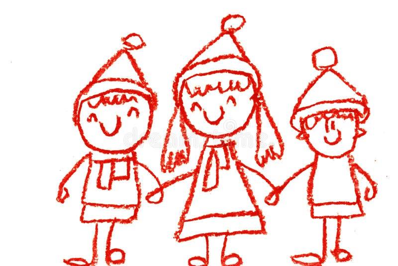 детский сад с нарисованной рукой, зимой мультфильма учителя с сезонами снеговика изолированными на белой предпосылке, девушке, ма стоковые фотографии rf