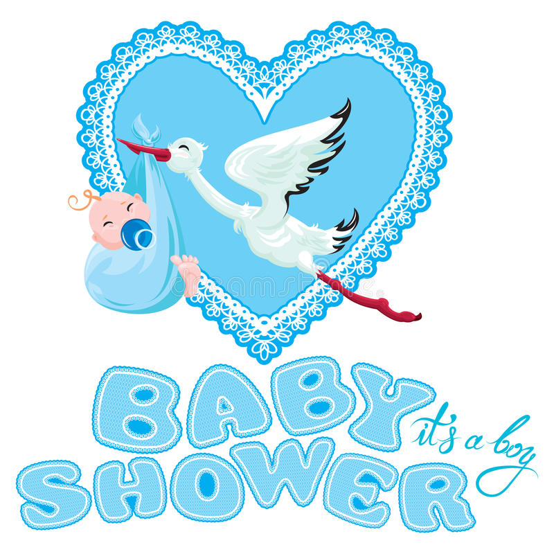 Детский душ, карточка, приглашение, etc Аист с мальчиком, сердцем a шнурка иллюстрация штока