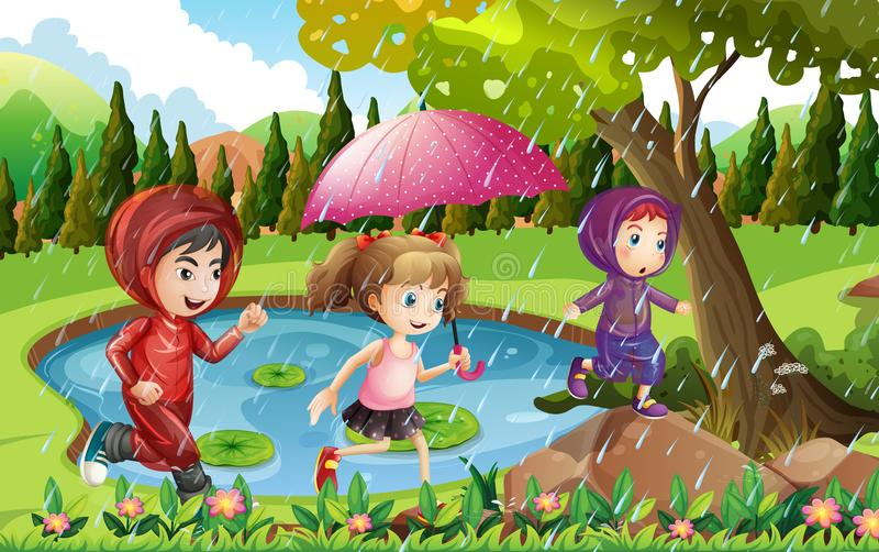 3 дет бежать в дожде иллюстрация штока