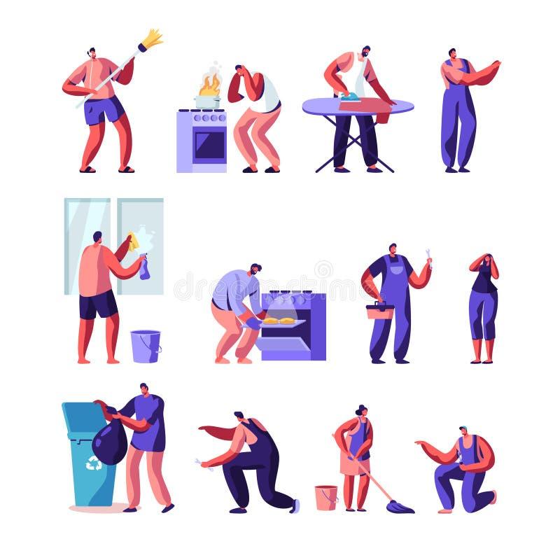Деятельности при домочадца, супруг для набора часа, характеры ремонтных услуг радостные мужские в равномерной деятельности с отла бесплатная иллюстрация