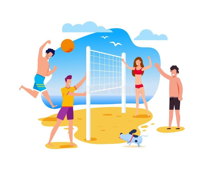 Деятельности при и спорт лета на мультфильме пляжа плоском бесплатная иллюстрация