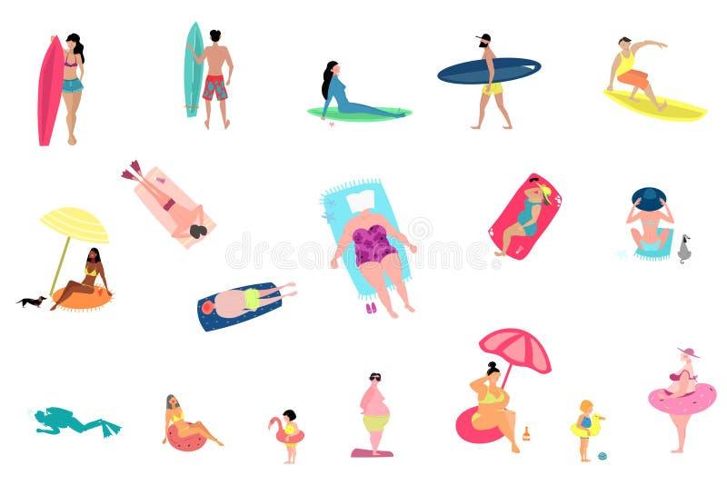 Деятельности при людей на наборе пляжа лета изолированном на белой предпосылке иллюстрация вектора