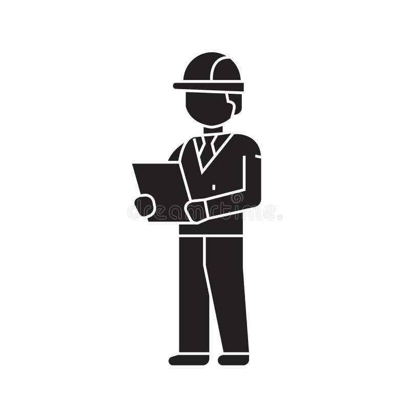 Деятельность архитектора со значком концепции вектора светокопий черным Деятельность архитектора с иллюстрацией светокопий плоско иллюстрация штока