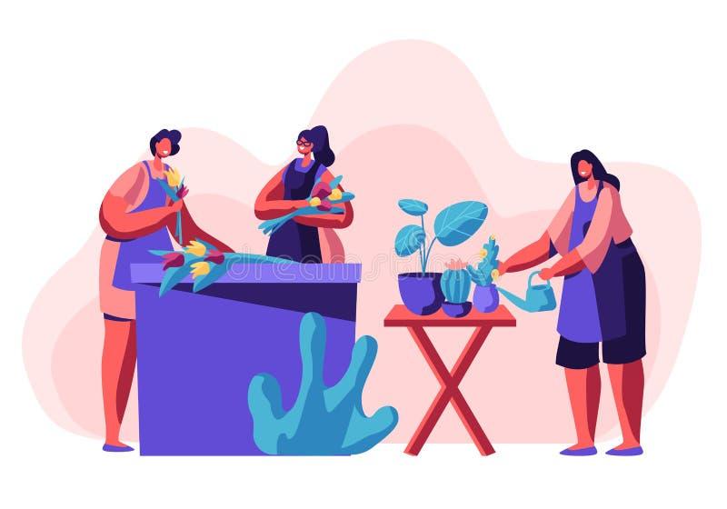 Деятельность вещества цветочного магазина Девушки делая букеты цветка, заботить заводов в баках, создавая составы дизайна для кли иллюстрация штока