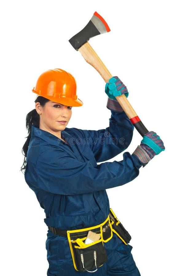 деятельность женщины строителя оси стоковое фото rf